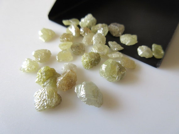 2 Pieces Yellow Raw Diamonds Flat Back Smooth Rough Diamonds Etsy