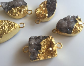 6pcs Gold Electroplated Grey Druzy Connector, Gemstone Connector, Jewelry Connector, 25mm To 18mm
