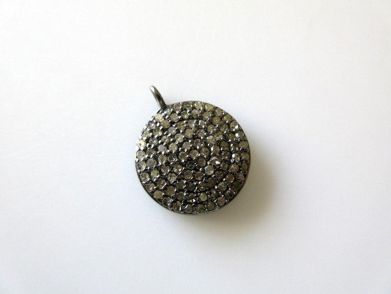 Natural Diamond Pave Round Charm Pendant Finding GDS311 925 Sterling Silver Antique Finish Charm 18x15mm