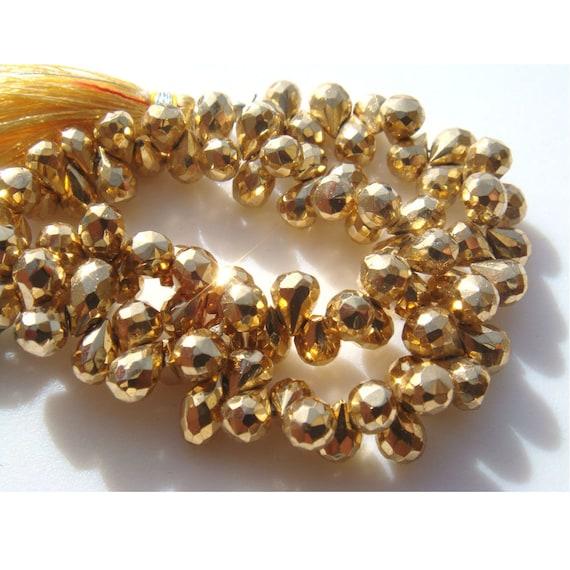 Pyrite, Pyrite dorée mystique, des Briolettes, déchirure goutte perles - 25 pièces - 7x11mm chaque - 3,5 pouces moitié Strand