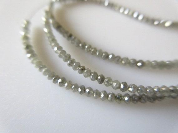 1.00 CTW 18 Pieces Rare Tiny All 2mm Grey Diamond Faceted Beads diamonds