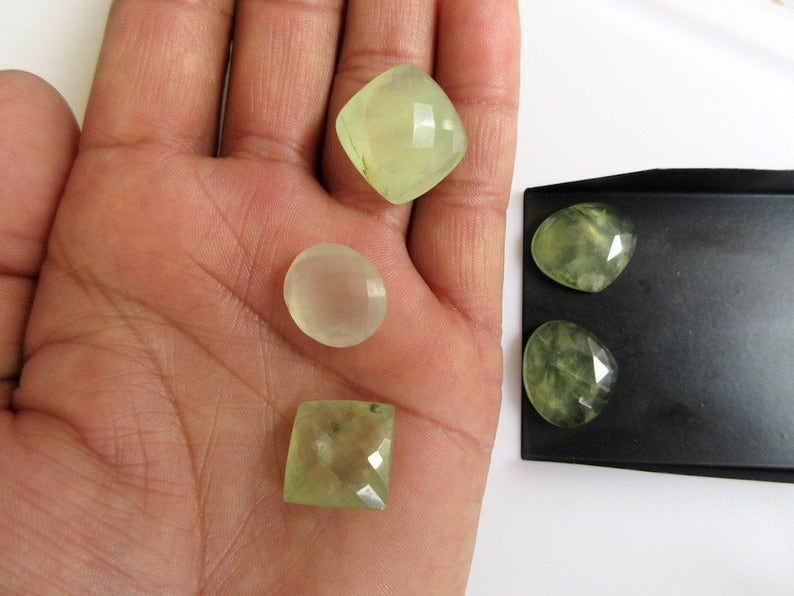 BB29 5 Pieces Mixed Lot Natural Prehnite Faceted Calibrated Loose Gemstones Cabochon 15-19mm Each
