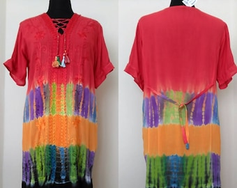 Retro  Hippie Dress -  Embroidered Rainbow  Bohemian dress -  Women's Plus size Summer Dress   -90s Grunge Dress -     -  gift for her