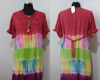 Retro Hippie Dress -  Gypsy Hippie Bohemian dress -   Rainbow Embroidered Dress -  Plus Size 90s Grunge Dress  - gift mom