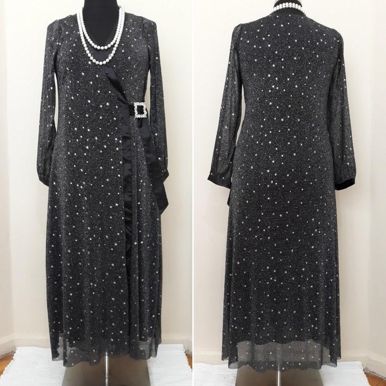 e0871942caaf Black Sparkly Wrap dress Evening maxi Dress Starry Long | Etsy