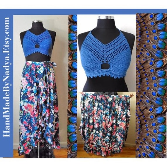 Boho plus size two-piece dress, crochet halter top&frill wrap maxi skirt,  best gift for her