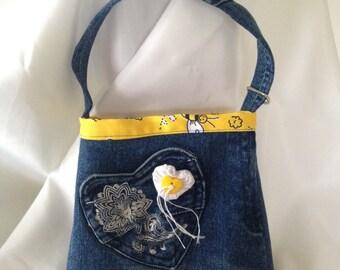Childs handbag, recycled denim, 100% cotton lining