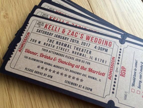 100 Cinema Wedding Invitations Movie Ticket Wedding Etsy