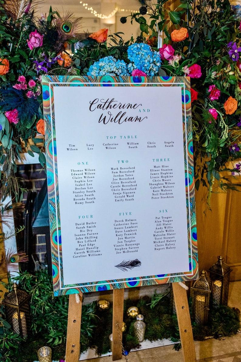 Peacock Wedding Table Plan Jewel tone peacock feather table plan peacock seating chart seating plan