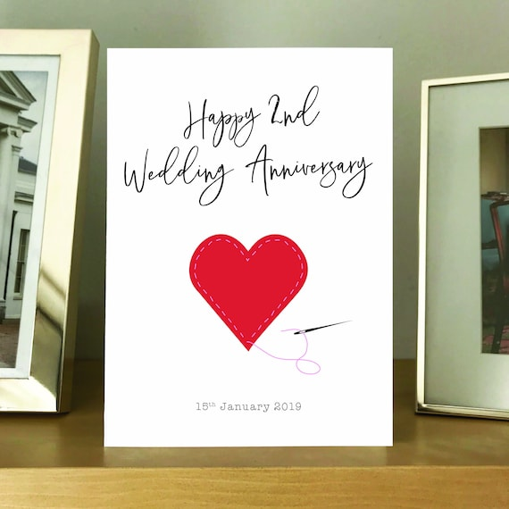 8nd Wedding Anniversary Card. 8nd Wedding Anniversary cotton heart Card.  Envelope Included. Second anniversary cotton anniversary card
