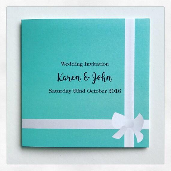 Gift Box Wedding Invitations: Blue Gift Box Personalised Folding Wedding Invitations