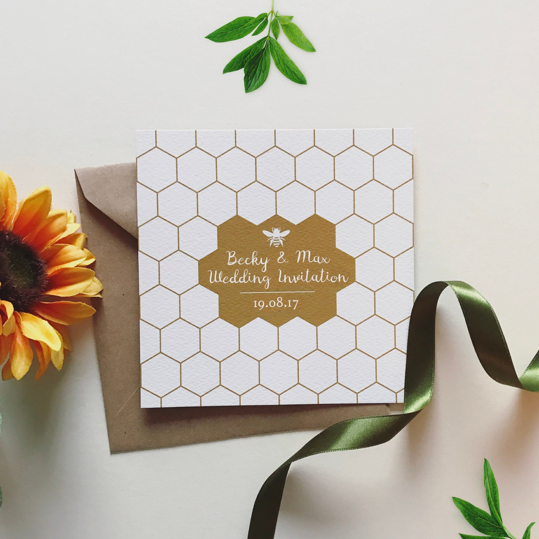 25 Personalised Honey Bee Wedding Invitations Free Envelopes