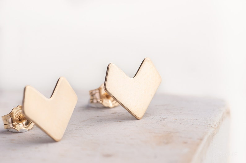 Camilee Designs Chevron Studs in Gold Filled