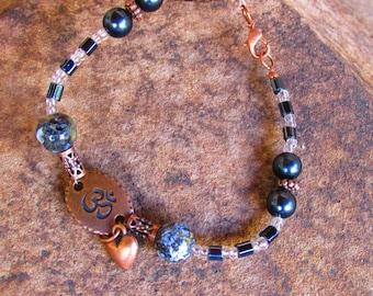 Blue Ocean Jasper, and Copper Bracelet