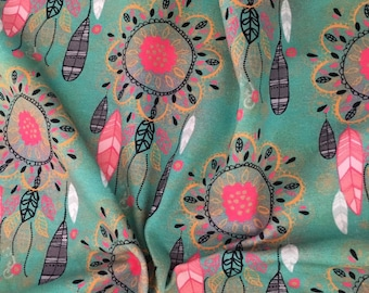 """Shirt fabric """"Rosalyn"""" dream catcher,colorful,pink,turquoise"""