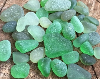 Assorted Green Sea Glass