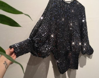 Disco Sequins Slouchy Top