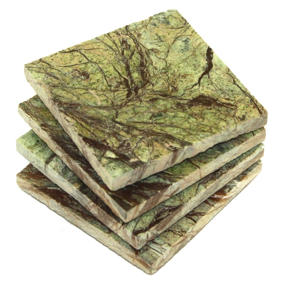Square Rainforest Green Marble Stone Coasters  Personalized With Laser Engraving by Etsy