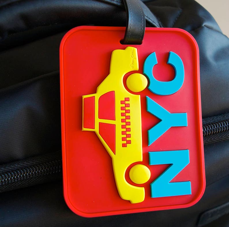 b3c727f2d24b Luggage Tag New York NYC Taxi Cab Red Heavy Duty Reinforced 3-d Bag ID Tag  4.25 x 3 inches Art by Mary Ellis