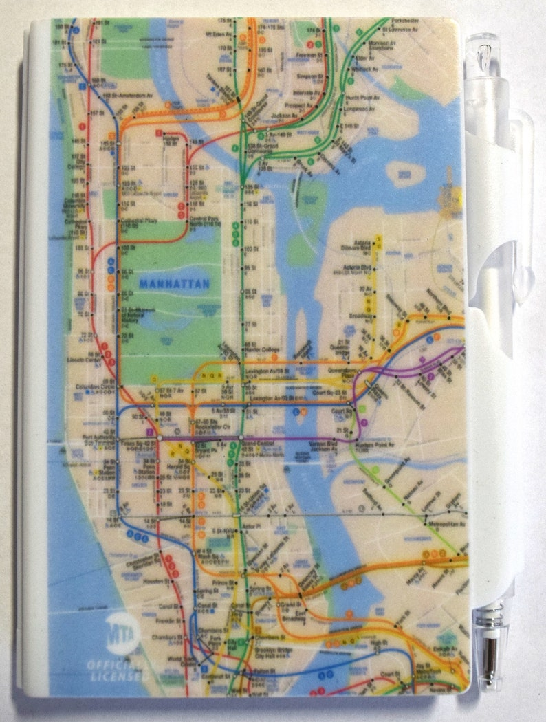 Manhattan Mta Mini Subway Map And Address Finder.Note Pad New York Subway Map Mta Licensed Pad Pen Set Mini Memo Notebook With Black Pen Journal Notebook 3 X 4 Art By Mary Ellis