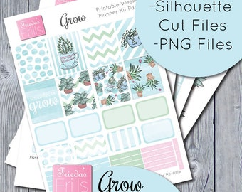Grow - Printable Weekly Planner Sticker Kit and Deco Sheet