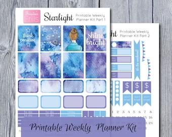 Starlight - Watercolor Printable Weekly Planner Kit - Functional