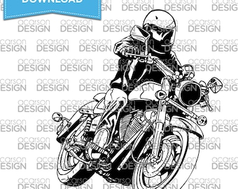 Motorcycle Cut File | Clip art file | Silhouette | Cricut (SVG File, DXF File, EPS File)