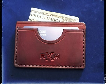 Handcrafted and Personalized Leather Wallet - Small and Thin