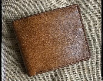 Handcrafted Bifold Leather Wallet - Shrunken Bison