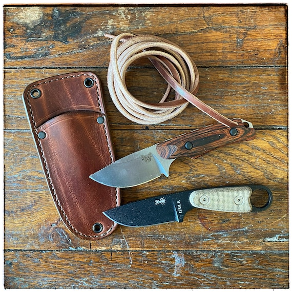 Neck Knife Outdoor Sheath for Hidden Canyon or Izula, Handcrafted Leather in the USA