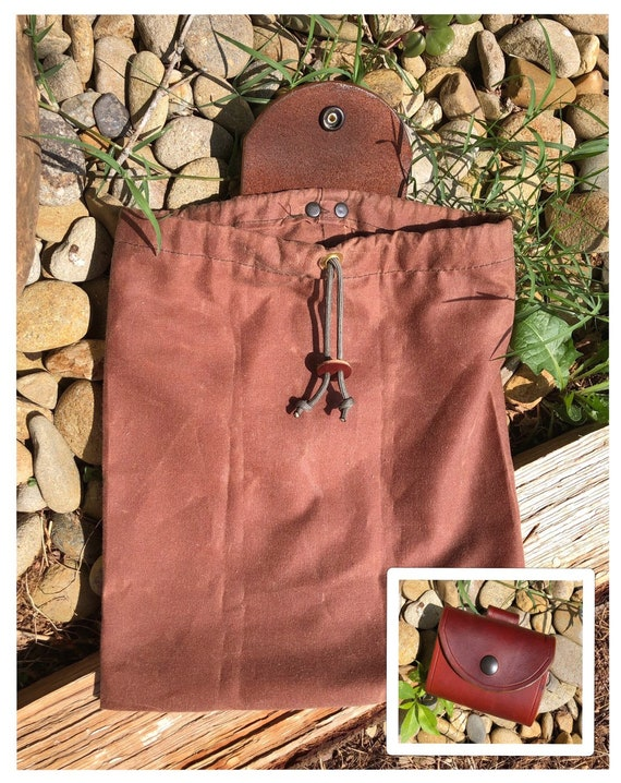 Handcrafted Bushcraft Roll-up Gathering Bag Dump Pouch