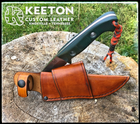 Leather Crossdraw Sheath with Snap for Benchmade 162 Bushcrafter Handcrafted Camping Bushcraft Survival Knife Sheath