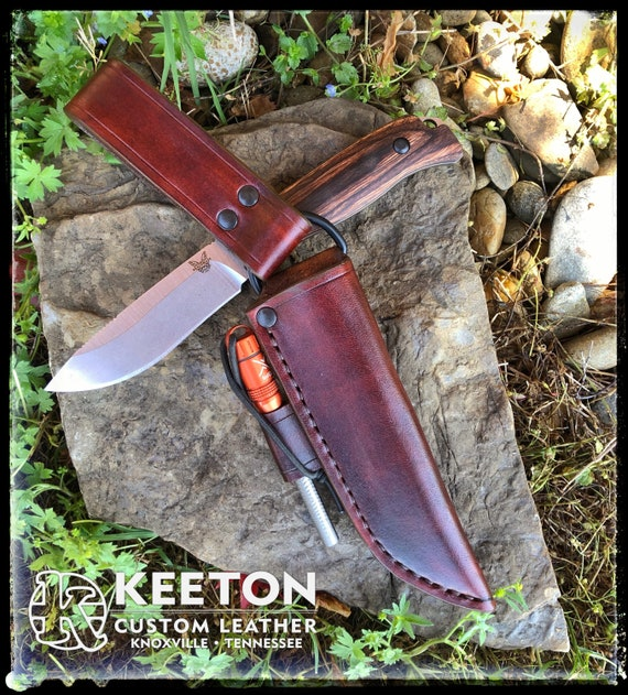 Leather Dangle Sheath for Benchmade Saddle Mountain Skinner - Handmade Camping Hunting Survival Bushcraft Knife Sheath