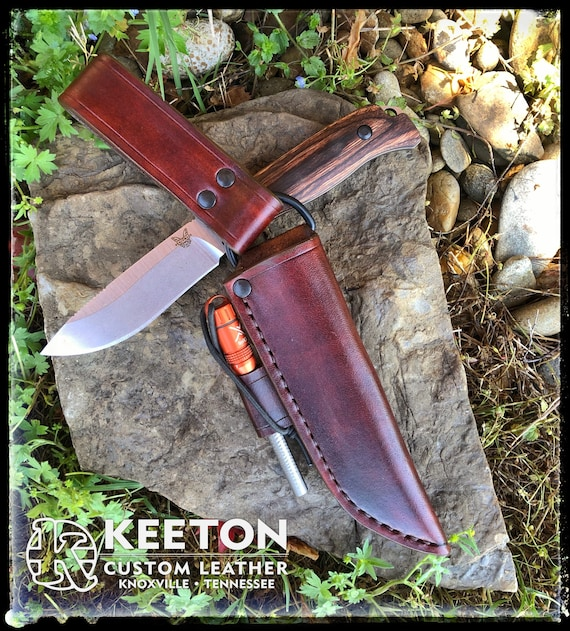 Leather Dangle Sheath for Benchmade Saddle Mountain Skinner - Handmade Camping Hunting Survival Bushcraft Knife Sheath