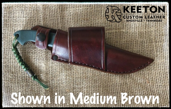 Handcrafted Leather Crossdraw Sheath with Snap for Benchmade 162 Bushcrafter