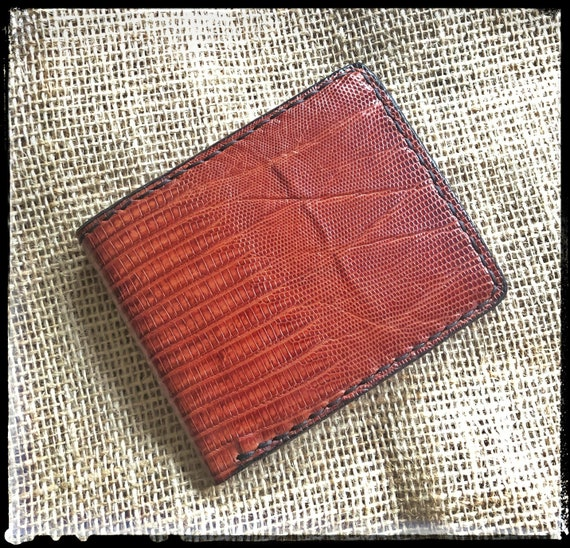 Handcrafted Leather Bifold Wallet - Genuine Teju Lizard Exterior