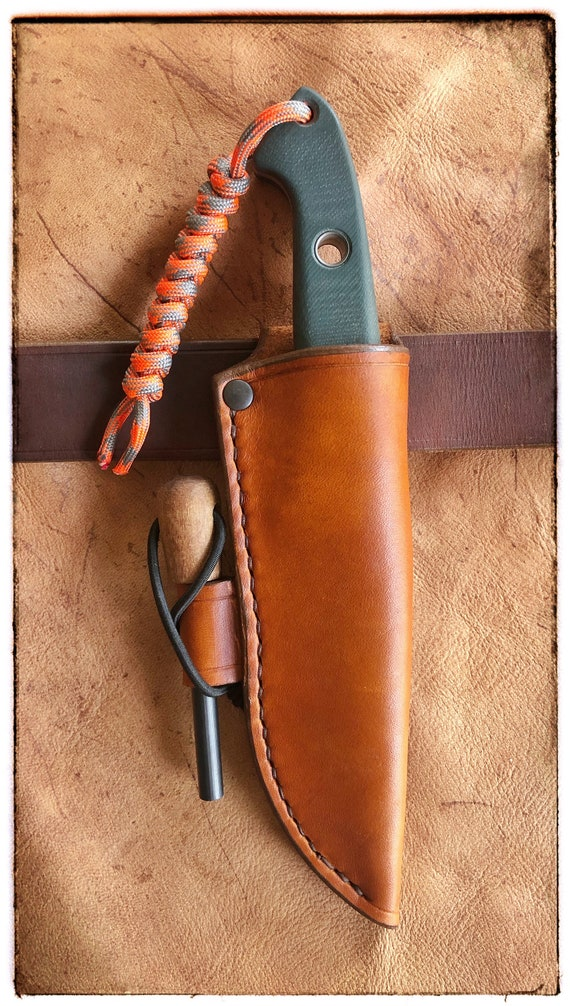 Custom Leather Belt Sheath for Benchmade 162 Bushcrafter - Handcrafted in the USA