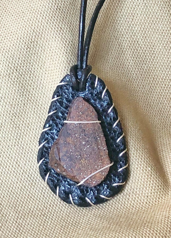 Genuine Meteorite Necklace Handcrafted with Leather and Sterling Silver Wire