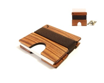 Square Business Card Holder in Rosewood - Handcrafted Wood Card Case For Business, Company, Corporate, Onboarding Gift, CORDOVA M
