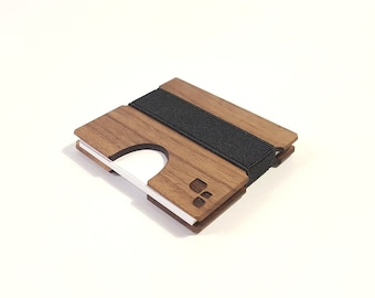 Modern Square Business Card Case, Wood Card Holder For Business, Company, Corporate, Onboarding Gift for Boss, Her, Him, CORDOVA M