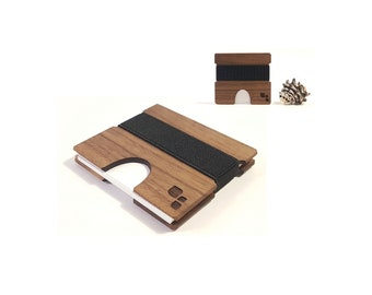 Square Wood Business Card Holder in Walnut, Wooden Card Case For Business, Corporate, Onboarding, Personalized Gifts, Cordova M by Konisa