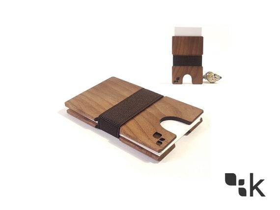 100 Holz Cordova Schwarze Walnuss Visitenkartenhalter Erweiterbare Karte Fall Brieftasche Zubehör Handgefertigt Lokal Von Konisa