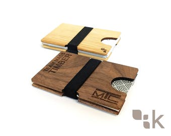 Cordoue (+ gravure Logo personnalisé) | Poche carte de visite en bois porte - See, bois, cadeau, fait à la main et canadien conçu par Konisa Studio