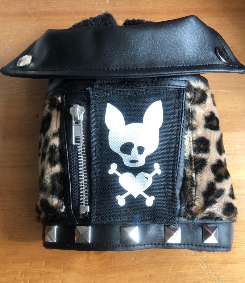 Dog Faux  leather jacket Meow image 0