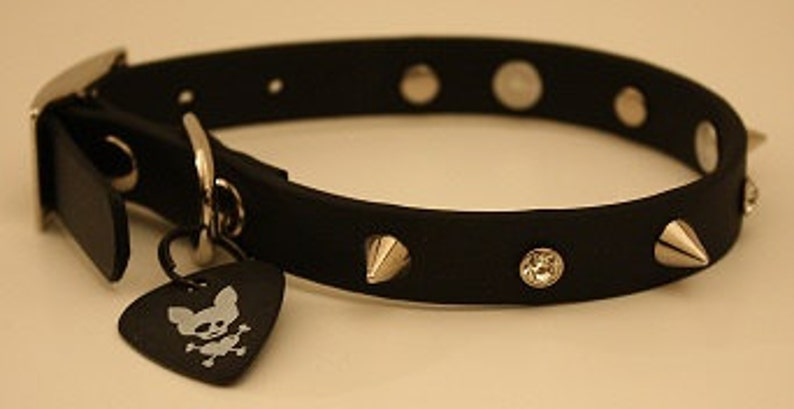 Dog Faux Leather Collar Spikes and Clear Crystals image 0