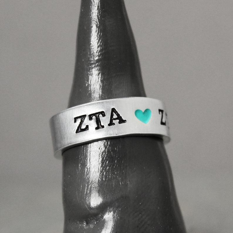 Custom Sorority Jewelry Sorority Gift Sorority Ring Sorority Sister, Hand Stamped Jewelry Heart Ring Zeta Tau Alpha Ring