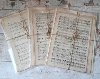Old Vintage Music Sheets Antique Paper Crafting Ephemera Collage Decoupage Papercraft Sheet Music MIX