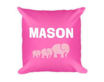 Personalized Pillow Pink Elephant Pillow, Decorative Elephant Pillow, Elephant, Pink Elephant, Pink Elephant