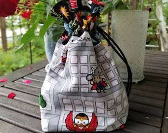 Marvel Chibi Avengers Nick Fury Thor Falcon drawstring bag