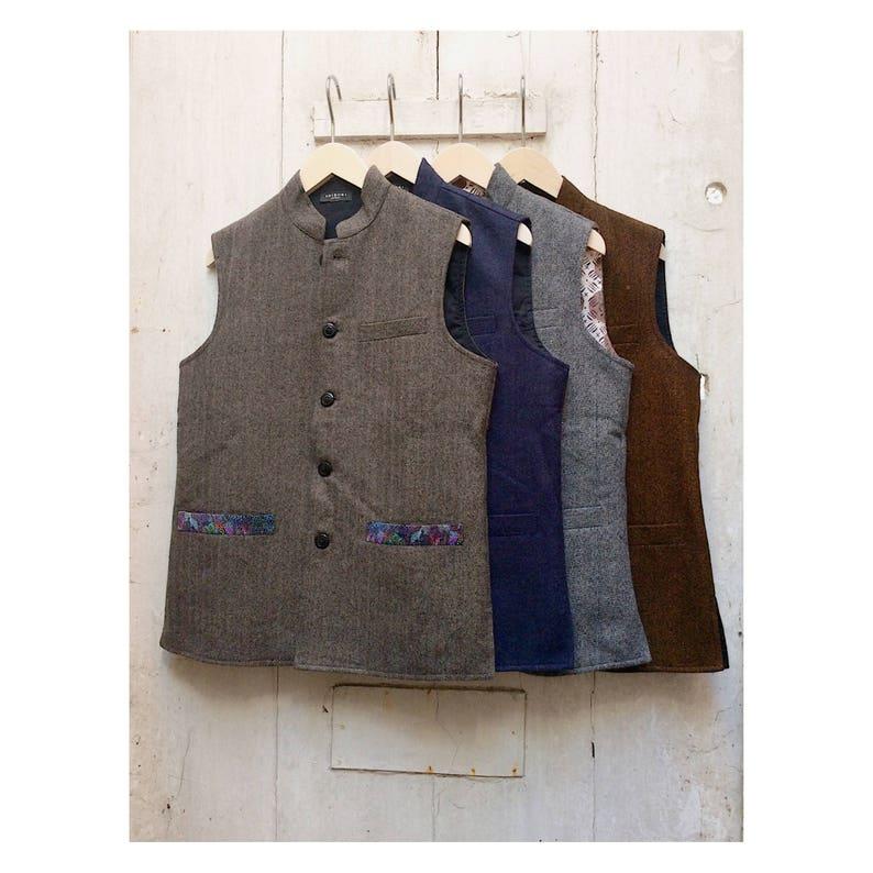 online store promo codes wholesale Size 38 Men's & Womens Handwoven Woollen Waistcoat Gilet Nehru Collar